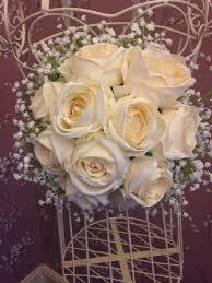 bouquet de fleurs roses blanches bouquet de mariée de fleurs de soie artificielle mariée roses