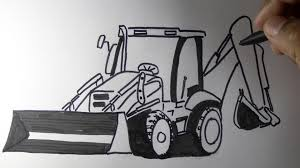 how to draw a jcb backhoe loader machine drawing youtube