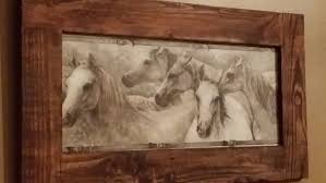 rustic home decor horse pic framed horse art wood frame