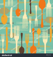 Colorful Kitchen Knives Dinnertime Background Drawings Fork Knife Spoon Stock Vector