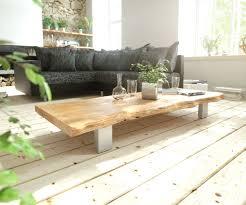 Wohnzimmertisch Natur Couchtisch Live Edge 165x60 Akazie Natur 4 Metallfüße Möbel Tische