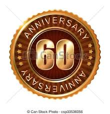 60 years anniversary 60 years anniversary golden brown label vector clipart vector