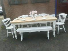 Shabby Chic Dining Table For Sale by Farrow And Ball Lime White Paint Reclaimed Pine Farmhouse Table