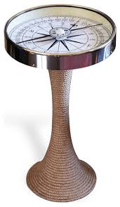 Accent End Table Nautical Glass And Rope Coastal Style Compass Accent Side End