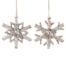 pine cone branch 2 pc snowflake ornament set snowflakes u0026 stars