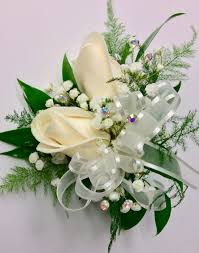 corsage prices 2 bloom standard size white wrist corsage centerville florists