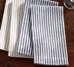 Pottery Barn Kitchen Towels Wheaton Stripe Napkin Set Of 4 Navy Pottery Barn