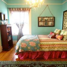bohemian bedroom decorating ideas with soft green wall color and