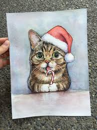 Lil Bub Meme - santa cat original watercolor painting lil bub cat meme santa