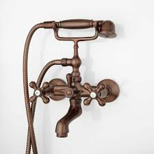 barlow wall mount tub faucet and hand shower with metal cross hand shower oil rubbed bronze