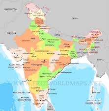 India Physical Map by India Political Map