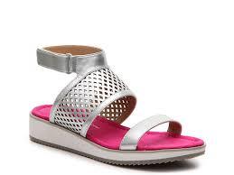 adrienne vittadini pollar wedge sandal silver metallic pink women
