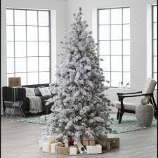 7 5 ft pre lit flocked hard needle huntsville pine christmas tree
