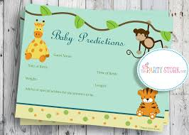 baby shower puppy theme safari baby shower game printable baby prediction cards