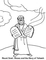 mount sinai moses and the glory of yahweh coloring sheet