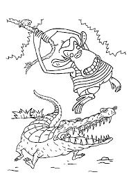 coloriage crocodile singe sur hugolescargot com