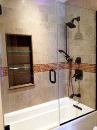 Small Bathroom Glass Shower Minimalist White Acrylic Tub With Glass Shower Wall Combined With