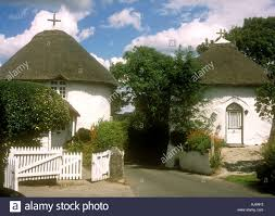 the famous thatched round houses in the village of veryan on the