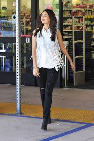 celebrity style victoria justice wears fringe top and destroyed