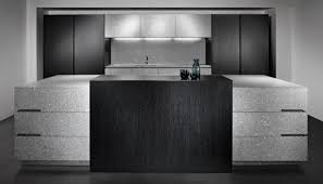 contemporary kitchen stone wood veneer island luna grey