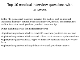 top 10 medical interview questions with answers