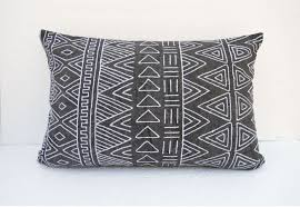 aztec pattern pillow cover charcoal colour embroidery