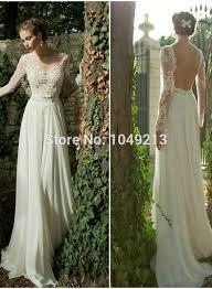 flowy wedding dresses backless semi sheer lace illuison sleeved flowy chiffon
