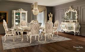ivory dining room with inlaid and carved furniture finished with