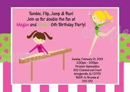 Birthday Party Invitation Card Birthday Invites Funny Kids Gymnastics Party Invitations Card