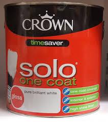 crown solo one coat satin gloss pure brilliant white 750ml 2 5l