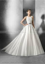 satin wedding dresses gown sleeveless bateau cathedral satin wedding dresses with
