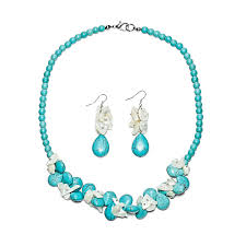 turquoise necklace set images Beaded bracelet necklace earrings jewelry set shell coral jpg