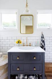 Blue Bathroom Vanity by Blue Bath Vanity With Wood Keyhole Mirror Contemporary Bathroom