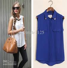 sleeveless collared blouse cheap arrivals style colors turn collar