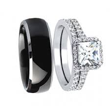 cute wedding rings images His hers 3pcs black titanium matching band cute women princess cut jpg