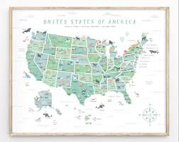 map of us states poster us map etsy