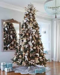 silver and gold tree of ornaments balsam hill with
