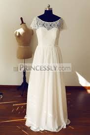 short sleeves see through back ivory lace chiffon wedding dress