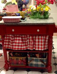 small country table painted red how cute with the check around