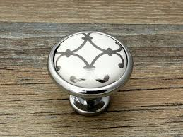 commode boutons tiroir bouton tire poignées blanc argent