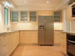 Bamboo Floor L Interior Modern Kitchen Design With Light Brown L Shaped Kitchen