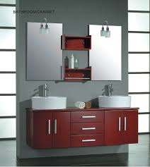 swank red painted floating vanity with double round vessel sink