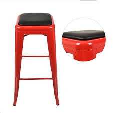 Bar Stool Cushion Set Of 2 Seat Cushion Pad Square Metal Steel Chair Industrial
