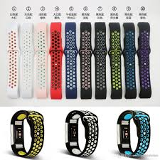 replacement silicone wrist bracelet images For fitbit charge 2 band hole loops double color replacement strap jpg