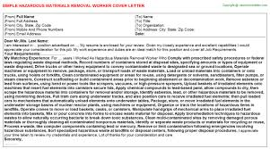 hazardous materials removal worker cover letter