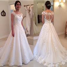 gorgeous scoop neckline cap sleeve lace bridal gowns sheer back