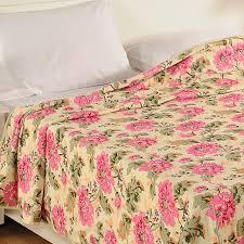 Swayam White N Pink Floral Peach Floral Dohars Buy Cotton Dohar Blanket Online Swayam India