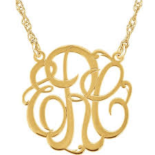 gold monogram initial necklace personalized cut 3 letter monogram pendant necklace in 14k