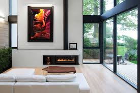 Simple Fireplace Designs by Canada Modern Minimalist White Washbasin Lake House Waterfront