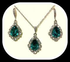 swarovski crystal necklace set images Peacock teal silver jewelry set swarovski crystal necklace jpg